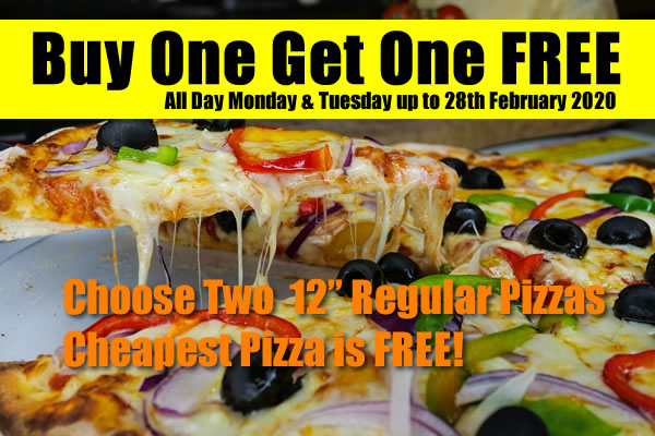 Buy One Get One Free on Mondays & Tuesdays at the Pizza Parlour & Music Cafe