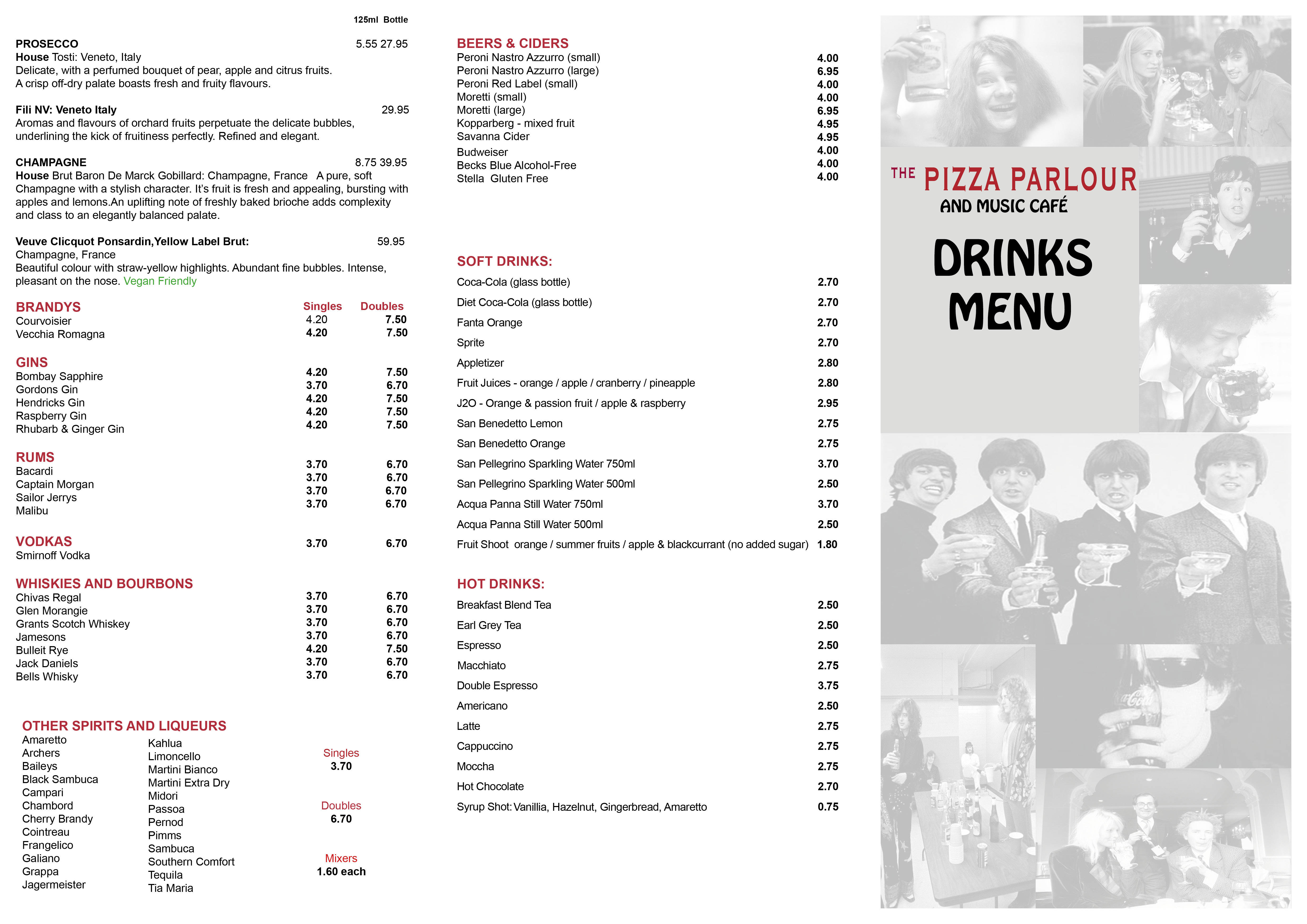 Drinks Menu - Pizza Parlour - August 2020