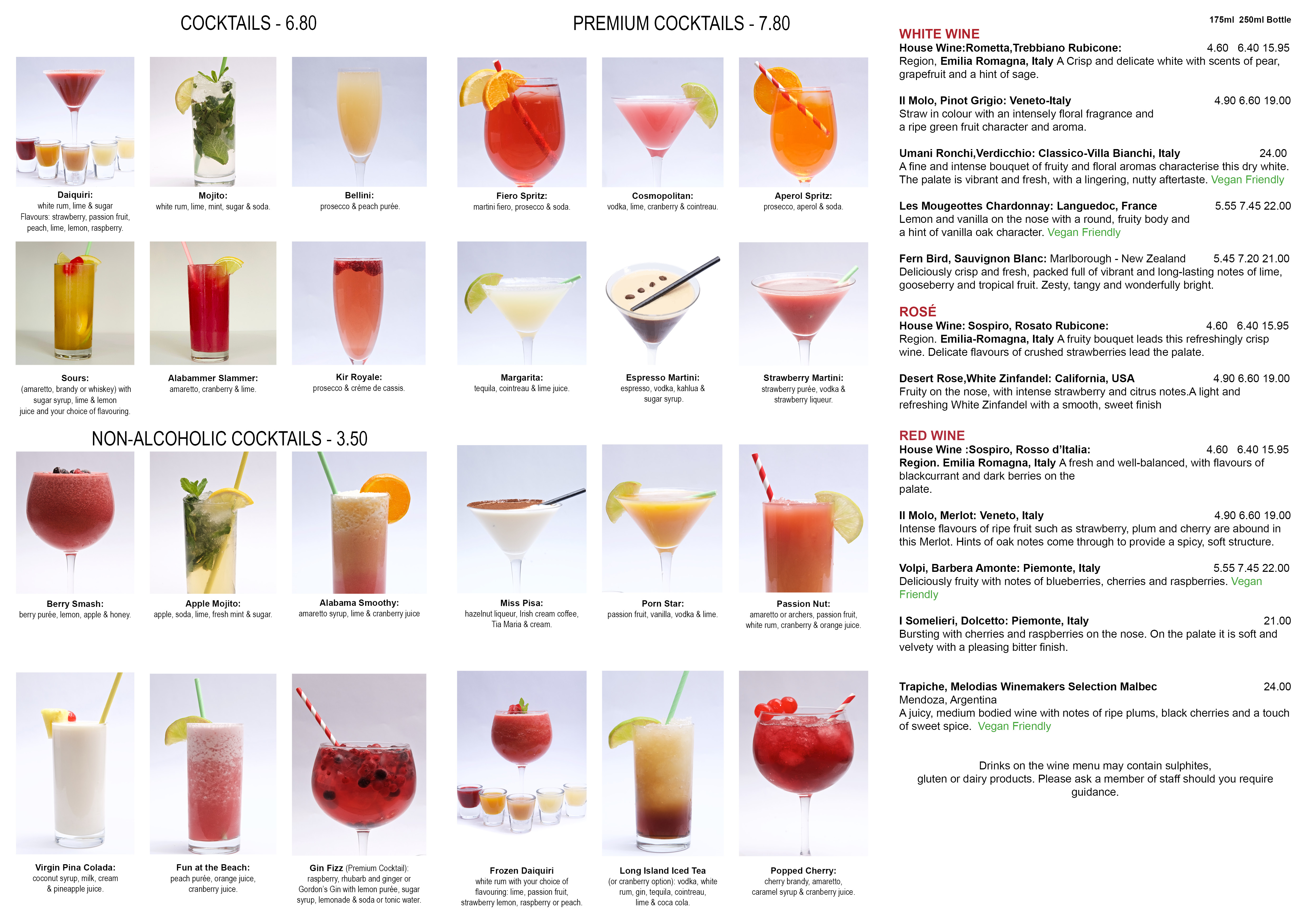 Cocktail Drinks Menu - Pizza Parlour - August 2020